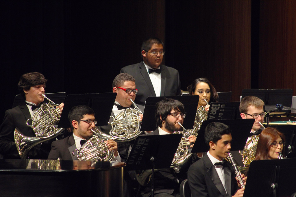 """Members of the UTRGV Wind Symphony perform """"Rio Grande"""" by Michael Daugherty on April 4 in the TSC Arts Center. The piece was commissioned by the University of North Texas and a consortium consisting of five symphonies or bands and 15 universities from across the world, including UT Rio Grande Valley, according to the event's program."""