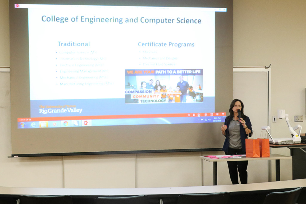 Mari Montelongo, a UTRGV graduate recruiter, gives a presentation about Graduate School requirements Oct. 6 in Sabal Hall on the Brownsville campus.