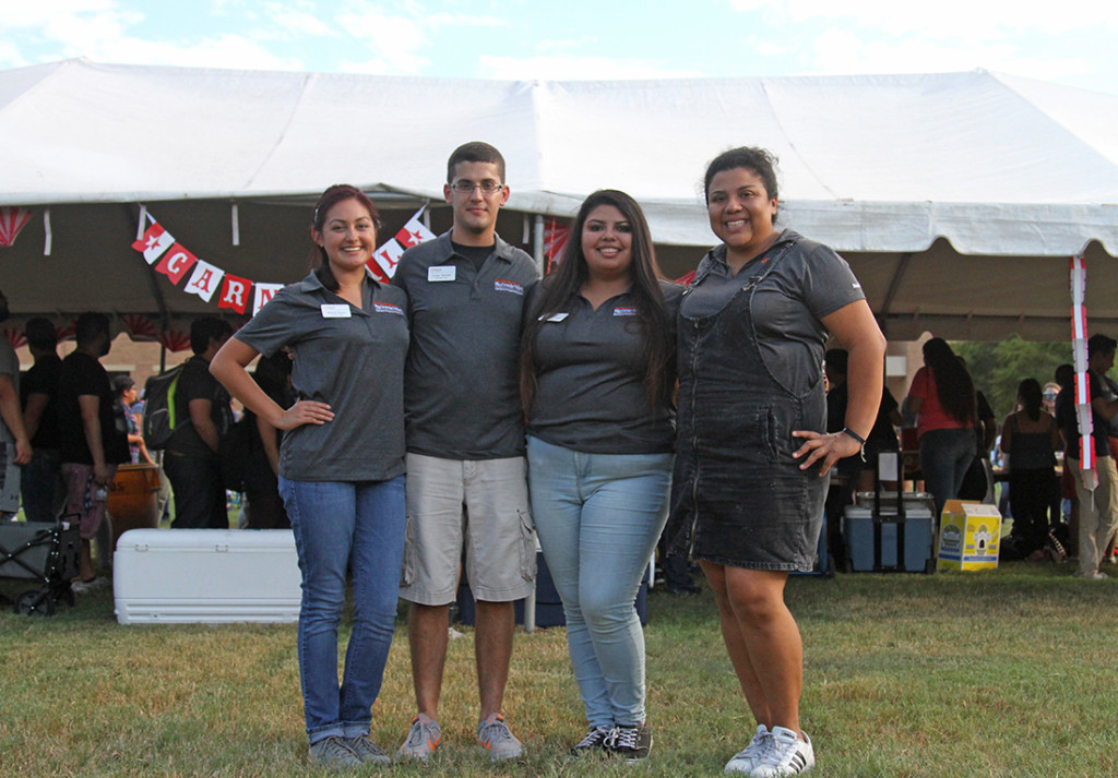 Campus Programming Board officers include Homecoming Committee Chair Melanie Reyna (from left), Pop Culture Committee Chair Louay Bachnack, President Bianca Zapata and Adviser Daniela Venegas./Lesley Robles/The Rider