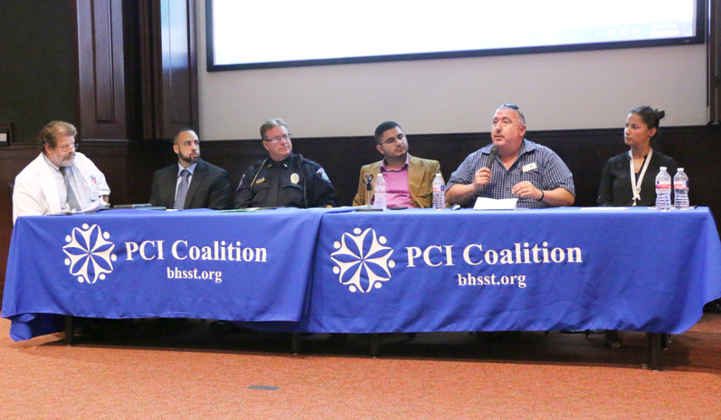 Robert Rios, a pharmacist at Walgreens in Brownsville (from left); Jason Bradford, a DEA special agent; Mark Elbert, a Brownsville Police Department officer; Jorge Muñoz, UTRGV counselor specialist; Ruben Garcia, clinical director of the Mesquite Treatment Center; and Elizabeth Urbina, a prevention specialist for Behavioral Health Solutions of South Texas, formed the panel for the first town hall meeting hosted by the Positive Community Impact Coalition. They spoke about the misuse of prescription and nonprescription drugs, parents' responsibilities regarding health care and the importance of teaching the community about these issues Sept. 19 at Salón Cassia in Brownsville./Ana Cahuiche/ The Rider