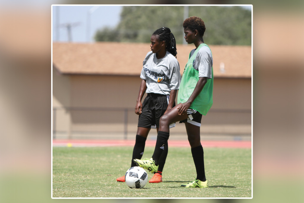 Forward Sarah Bonney and midfielder Diana Ansah are shown during practice last Thursday at the UTRGV Soccer and Track & Field Complex in Edinburg./Lesley Robles/The Rider