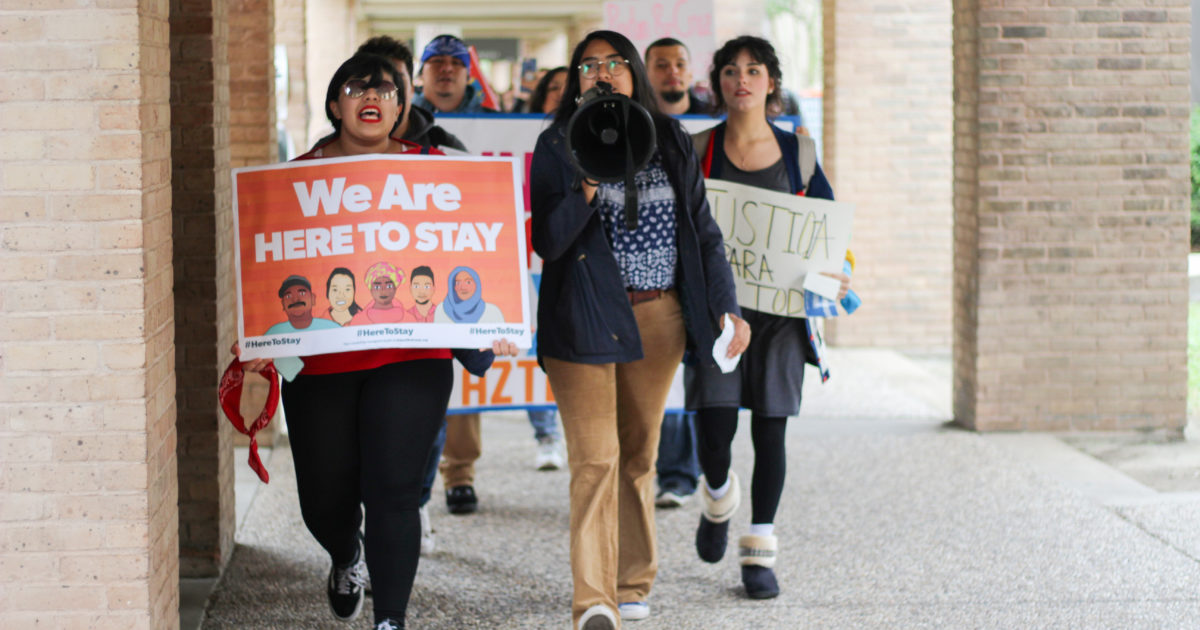 """UTRGV students march earlier today through the Bronc Trail on the Edinburg campus to voice their displeasure with President Donald Trump's rescindment of the DACA program. Protesters urged UTRGV administration to create a Dreamer Center during the rally of the """"Solidarity Walkout."""""""