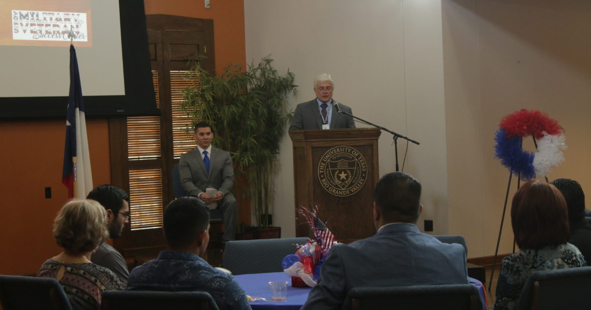 Rand Binford, the education coordinator for the Texas Veterans Commission and U.S. Army veteran, speaks to highlight the value of and respect all veterans deserve for their service to the country during the Veterans Day Ceremony hosted last Wednesday by the UTRGV Military and Veterans Success Center in PlainsCapital Bank El Gran Salón on the Brownsville campus.