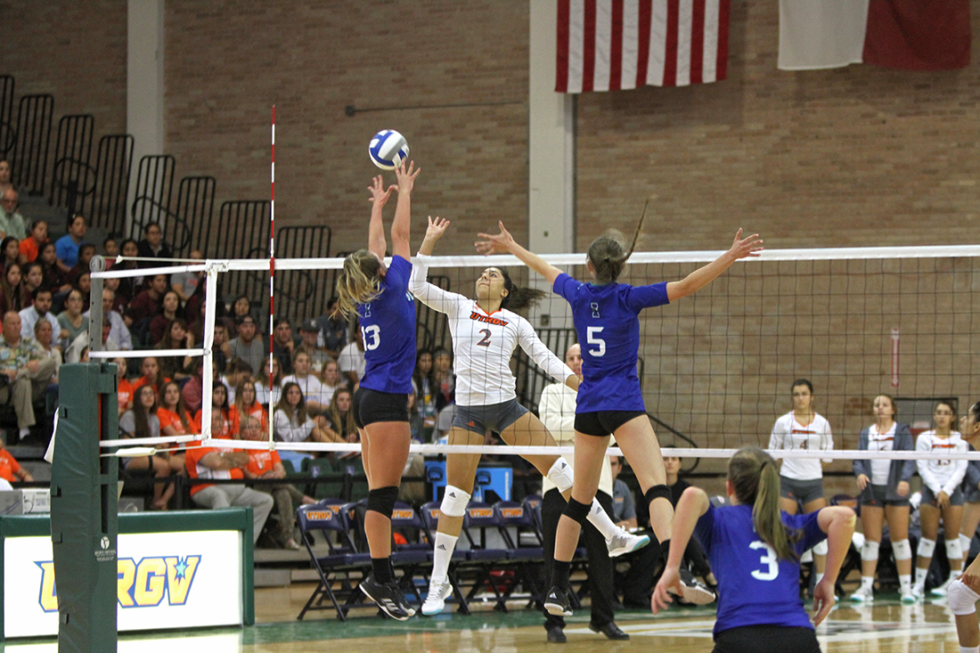 Sophomore middle blocker Barbara Silva goes up for a kill against Texas A&M University-Corpus Christi during the South Texas Showdown on Sept. 13 in the UTRGV Fieldhouse.
