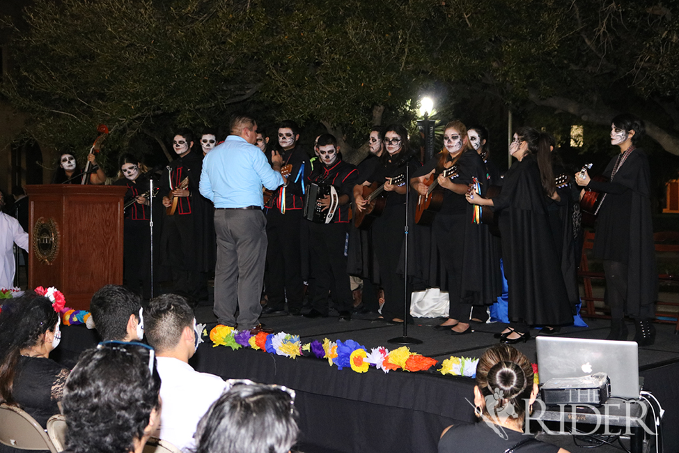 The Rivera High School Estudiantina performs lively traditional Mexican music during the event.